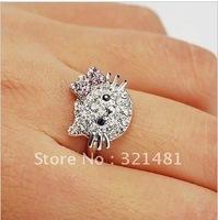 C01407 pink bowknot hello kitty crystal ring, alloy diamond ring Cartoon free shipping 20pcs/lot