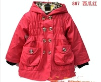 baby child warm trench coat cotton wadded jacket overcoat with hat for girl infant Parkas baby clothing wear Khaki