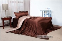 120398   free shipping Silk bedding set  /bed sheet/  comforter set/ 4pcs bedding set