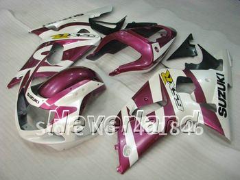 suzuki gsxr 600/750 2001 2002 2003 rosa/blancas carreras carenados para gsx-r600 r750 01-03 piezas de bicicleta carenado reemplazo