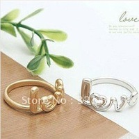 Free shipping!Korean Style jewelry Love Alloy finger ring mixed colors fashion 20pcs/lot JF008