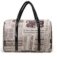 Free Shipping GK Women Designer Charater Newspaper Print Handbag Hobo Bag  BG83
