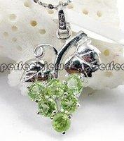 Peridot pendant Free shipping Perfect Jewelry Natural peridot Fine jewelry 925 silver pendant,1pc/jewelry box,#ALIE-8020