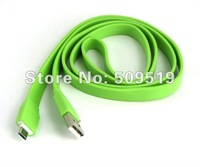3pcs/lot usps free + New design flat slim sync noodle shape 1M colorful noodle usb cable for HTC ONE X Samsung Galaxy i9300