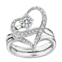 Free shipping 12pcs 925 fully-jewelled silver Rings,jewelry crystal diamond rings, heart finger ring I99