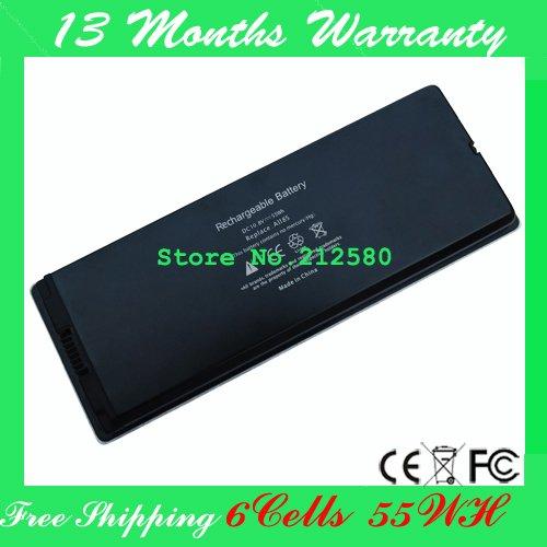 """Replacement Laptop Battery A1185 MA566 MA566FE/A MA566G/A MA566J/A For apple MacBook 13"""" A1181 MA472 MA701 Black(China (Mainland))"""