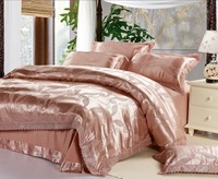 120414   free shipping  Luxurious silk 4pc bedding set/ comforter set