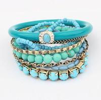 (Min order$10) Free shipping!Fashion zircon Silver Color Bracelet clover!#S1003