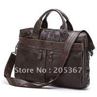 Vintage Leather Men's Black Briefcase Laptop Bag Messenger Handbag #7122C