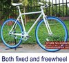700X23C White Frame with Blue Rim Complete Fixed Gear Bike,Both Fixed and Freewheel, 50cm Frame. FIXEE 2.8