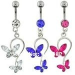 wholesale body jewelry piercing navel rings belly button butterfly belly button rings-free shipping