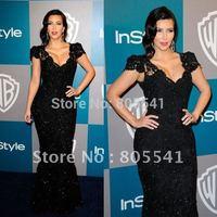Custom Made Kim Kardashian Mermaid Trumpet V-Neck Cap Sleeve Lace Black Evening Dress Celebrity Dresses CBD-080301