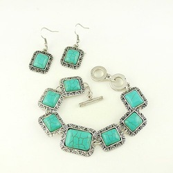 Turquoise Bracelet+Earring Jewelry Sets Free Shipping(China (Mainland))