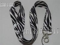 Free Shipping Black and White Animal Print Zebra ID key lanyard  for ID,Mp3 holders