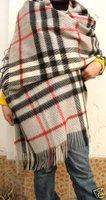 New Women's Cashmere Shawl Scarf  Wintry Warm Light Gray Plaid Wrap Free Shipping