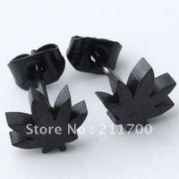 Free shipping 0.7mm Pin Stainless Steel Black Leaf Men Earring 1 Pair