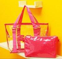 Top 1 sales PVC Transparent beach bags Candy shoulder handbag ladies girls shopping bag SH13 Free shipping