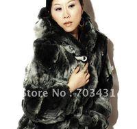 Wholesale ladies fur coat,hooded rabbit fur coats,women's rabbit fur dyed coat,Hood Winter lady Warm Coat,free shipping,ID:Y84