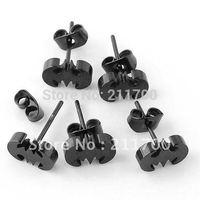 Free shipping 0.7mm Pin Steel Black Bat Stud Ear Men's Earring 100pcs