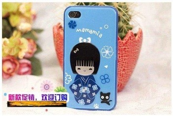 Wholesale Cute & Fashion,Girls love! Cute Japanese doll Case Cover  for iphone 4G 4S ,free shipping + Factory Price