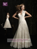AWB0632 2013 New Fashion Backless V Neck Lace Bridal Wedding Dress