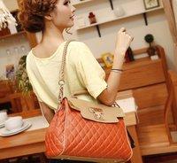 2012 summer new lozenge with crocodile pattern PU+Cow leather handbags shoulder bag fashion OL PUBag