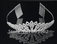 Free Shipping Cheap Sale 3pcs/lot Fashion Silver-Plated Wedding Tiaras And Crowns Bridal Hair Accessories Crystal Hair Jewelry