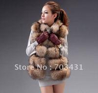Wholesale/retail women fur coat,2012 winter new design quality racoon fur vest/jacket,free shipping,ID:WM008
