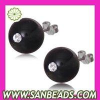 Free shipping! 5pair/lot,2014 Fashion 8mm Black Onyx Sterling Silver Stud Earrings-TP3605