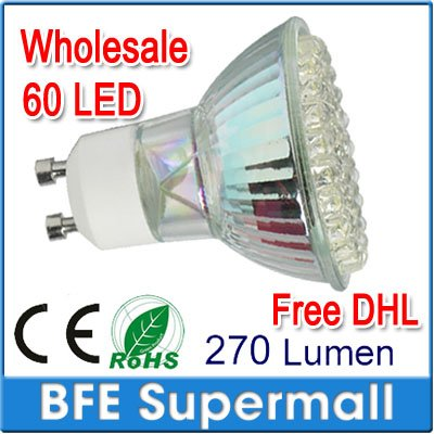 400 Pcs Wholesale GU10 60 LED 3.6W SPOT LIGHT BULBS DAY/WARM WHITE=50W FREE EMS[4 PCS/Packet](China (Mainland))