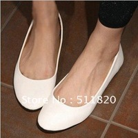 Free Shipping 2012 Latest design Autumn women's PU  round toe shoes, flattie,black&white flat shoes,casual shoes