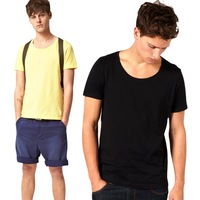 Brief large o-neck short-sleeve fashion slim solid color t-shirt basic shirt fashion brief male summer