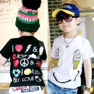 2012 summer ice cream smiley boys clothing girls clothing baby short-sleeve T-shirt tx-1055
