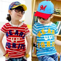 2012 summer letter stripe paragraph boys clothing girls clothing baby short-sleeve T-shirt tx-1081