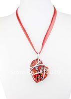 Free Shipping 10pcs 5.2*4cm Sweet Retro Feel Emerald Mix Color Heart Love Millefiori Lampwork Glass Pendants necklace jewelry