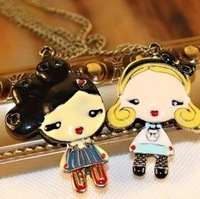 Europe and America Original Single Retro Jewelry Lovely Doll Oil Drip Long Pendant Necklaces 8pcs/lot Free Shipping