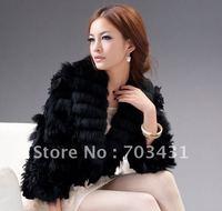 Wholesale/retail women fur coat,Ladies Fashion rabbit fur manual roll flower Coat,fur warm coat/outerwear,free shipping,ID:WY036