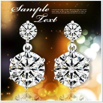 free  shipping Twin flowers Sterling Silver Earrings Crystal Silver earrings