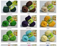 4*50g Skeins Soft Smooth Natural Silk Flax crocheting/baby yarn;200g;lightyellow, black, pink, purple, green etc. can be choosed