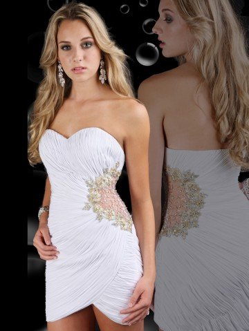 Fancy Newly Designed White Chiffon Sweetheart Off the Shoulder Beading Pleat Slim Sexy Mini Cheap Party Dress Under 100(China (Mainland))