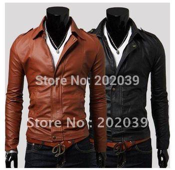 Wholesale - Men's Multi zipper Slim washing PU Leather  motorcycle Jackets Coat Outerwear