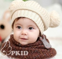 Free Shipping ! Double ball monochrome children new winter wool cap ear protection cap