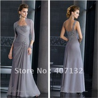 New Fashion One Shoulder Grey Chiffon Appliqued Mother of the Bride Dresses with Jacket