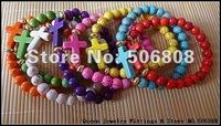 Mixed Color Sideways Cross Honesty Bracelets, Side Way Handmade Stretch Beaded Jewelry Bracelets 15PCS/LOT