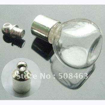 Ship Free! 50pcs 6mm #14 round Miniature Wishing Bottle Glass clear tube Perfume essential oil charm vial pendant SCREW CAP