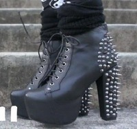 ladies high heel rivets ankle boots lace up platform for women wholesale free shipping JJM456-3NF