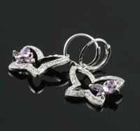 cute artificial Crystal Butterfly Earrings