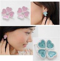 Cute 4 heartshaped leaves color glaze earrings +free shipping