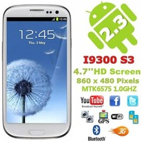 Real 8.66mm HD Super AMOLED 1280*720!MTK6577 1:1 I9300 S3 phone cortex-A9 dual core 1.4GHz 4.8 inch oringinal back cover