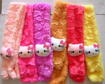 Kitty cartoon Soft shawl muffle Plush Scarf Pink for Girl Children kids neck warmer